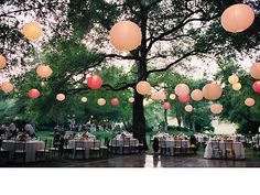 Hang paper lanterns outside between trees to create a floating effect, magical!