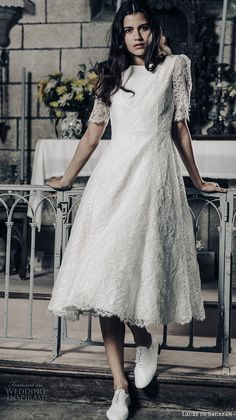 laure de sagazan 2017 bridal half puff sleeves bateau neck full embellishment bohemian tea length short wedding dress open v back (gary) mv -- Laure de Sagazan 2017 Wedding Dresses