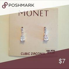 """Cubic zirconia earrings Cubic zirconia pierced earrings (5/8"""" long) Monet Jewelry Earrings"""
