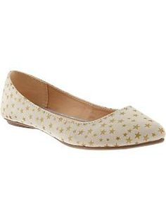Women's Star-Print Pointed Toe Flats | Old Navy