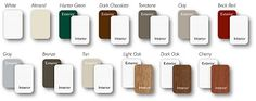 Look at all these color options available for ViewPoint Series 8000 Windows!  Your sure to find one that will inspire you! Visit www.viewpoint-windows.com. Available exclusively from Norandex! Vinyl Replacement Windows, Bronze Tan, White Almonds, Grey Exterior, Light Oak, Hunter Green, Usb Flash Drive, Inspire, Color