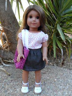 "Pretty Blouse, Denim Skirt, and Trendy Tote Bag for 18"" Dolls via Etsy."