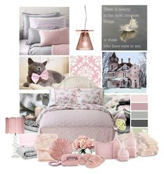 """Pink bedroom"" by frenchfriesblackmg ❤ liked on Polyvore featuring interior, interiors, interior design, home, home decor, interior decorating, York Wallcoverings, Shabby Chic, Barefoot Dreams and Cyan Design"