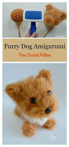 Furry Dog Amigurumi Free Crochet Pattern #freecrochetpatterns #amigurumi