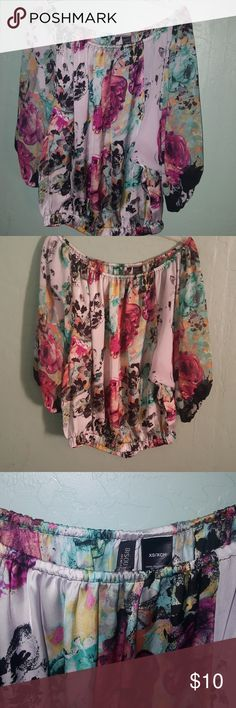 Bisou Bisou floral shoulder blouse :) Used like 2 times very pretty blouse Bisou Bisou Tops Blouses
