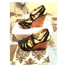 Nine West Black Wedges Black Wedges Nine West Strapy style  Cork Wedge  Great Condition!! Size: 9W Nine West Shoes Wedges