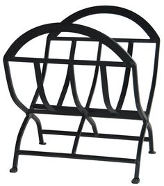 Uniflame® Black Wrought Iron Fire Wood Holder Log Rack with Open Design