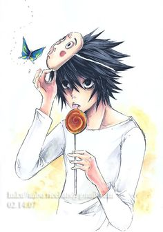 L with some of his favourite props . and a butterfly! L Death Note, L Lawliet, Favorite Tv Shows, Manga Anime, Butterfly, Sweet, Detective, Drawings, Candy