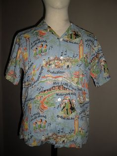 021abab3 Royal Hawaiian Blue Light cotton Shirt,Very Rare Limited Edition,40's Made  by Sun Surf Japan Vintage Reproduction,Sz M,Near a Mint Condition