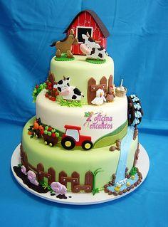 Digger Birthday Cake, Farm Birthday Cakes, Farm Animal Birthday, Barn Cake, Farm Animal Cakes, Chicken Cake, Baby Shower Cakes For Boys, Paper Cake, Novelty Cakes