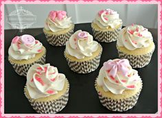 Cupcake Gallery - Kristen's Cake Creations - Pink gray and white cupcakes with fondant buttons and bows