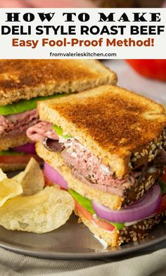 This easy method turns an economical cut of beef into super tender, flavorful Deli Style Roast Beef. Skip the deli and make your own lunch meat at home! #beef #roastbeef #delimeat #howto #lunch #sandwiches #easydinner Roast Beef Lunch, Sliced Roast Beef, Sirloin Roast, Roast Beef Recipes, Deli Sandwiches, Roast Beef Sandwiches, Sandwich Recipes, Kosher Recipes, Cooking Recipes