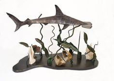 Steel Hammerhead Shark With Mineral Ocean Gallery. This and more important natural history art for sale on CuratorsEye.com