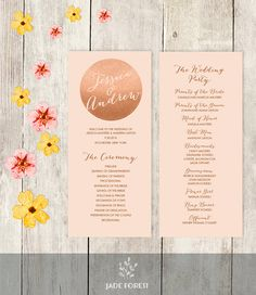 Wedding Program Printable / Metallic Rose Gold by JadeForestDesign