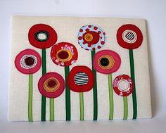 Cuadro de tela flores rojas ideal para habitaciones infantiles. en Etsy, €18.00