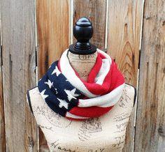 Chunky Knit American Flag Scarf