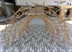 weaving bridge,timber woven arch bridge, china, reciprocal structure, robotic fabrication, Christian J. Lange