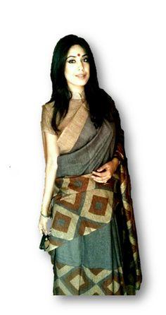Geometric pattern sari in earthy hues