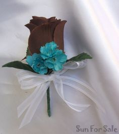Chocolate and Blue Centerpieces | ... Bouquet Wedding Package Bride Groom Centerpiece Pew TURQUOISE BROWN