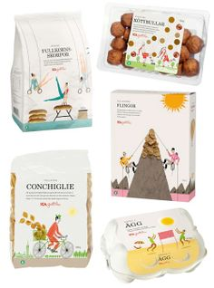 Packaging for Swedish food brand ICA, by Klas Fahlen. So cute. Playing soccer with meatballs!
