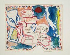 Pierre Alechinsky Sous scellé, 1978, aquarelle sur pli postal de 1829, 20,3 x 25,4 cm, Archives P.A.