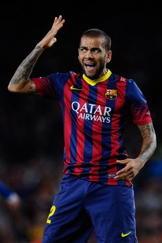 Dani Alves of FC Barcelona reacts after missing a chance to score during the La Liga match between FC Barcelona and RCD Espanyol at Camp Nou on November 1, 2013 in Barcelona, Catalonia.