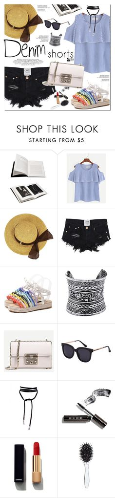 """Denim Shorts"" by oshint ❤ liked on Polyvore featuring Browns, LULUS, Bobbi Brown Cosmetics, Chanel, New Look, Sheinside, jeanshorts, denimshorts, cutoffs and shein"