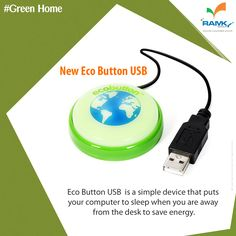 #GreenHomes #Ecobutton is a simple device By pressing it that puts your computer to sleep when you are away from the desk, helping to save energy and monitoring the energy you are saving.