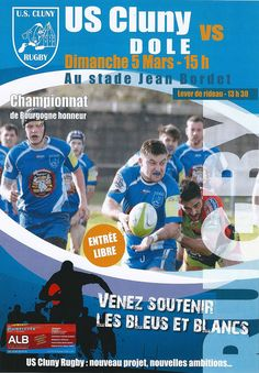 US Cluny rugby – US Dôle, le 5 mars 2017 à Cluny : http://clun.yt/2lpSbSO