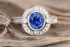 Gorgeous Oval Blue Sapphire and Diamond Engagement 18k white gold Ring by RiordanStudio on Etsy https://www.etsy.com/listing/194811216/gorgeous-oval-blue-sapphire-and-diamond
