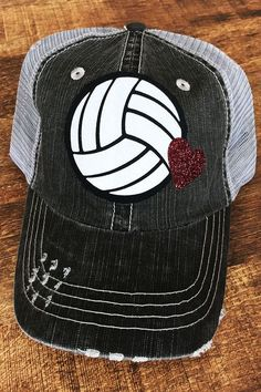 Volleyball Trucker Hats with Glitter Heart 700a70575932
