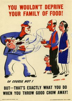"""WW2 Navy poster: There were a lot of different versions of these """"eat all you take"""" posters!"""
