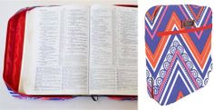 Bible Case - holds most bibles and includes a pen holder and external pocket. Bible Cases, Daily Deals Sites, Deal Sites, Blue Chevron, Pen Holders, Red White Blue, Stylish, Color, Colour