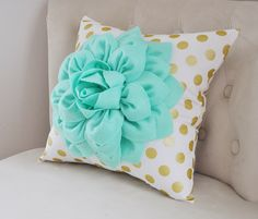 Gold Polka Dot Pillow with Mint Green Dahlia Flower, Decorative Pillow, Metallic Gold Pillow, Nursery Decor Pillow by bedbuggs on Etsy https://www.etsy.com/listing/235687048/gold-polka-dot-pillow-with-mint-green