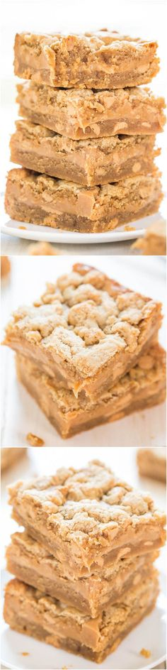 Peanut Butter Sandwich Cookie Bars - A creamy PB layer sandwiched between PB cookie dough! Peanut butter lovers will go nuts over these!!