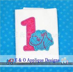 Seashell 1 Digital Applique Design Mermaid Ocean Birthday Embroidery Design