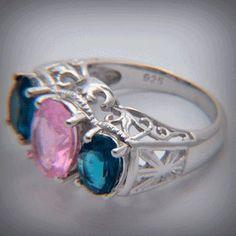 Anel com Pedra  Zirconias Azul Rosa Prata 925 Zirconias Oval (AN279)