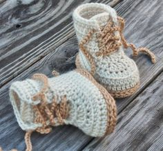 "Crochet PATTERN Baby Boys Booty ""Combat"" Boot Crochet Pattern, Beige Crochet…"