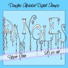 Dangles Alphabet Digital Stamps Upper Case - Personal and Limited Commercial Use by atelieroz on Etsy