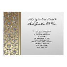 Gilded Era Glam - Gold and Silver Wedding Invitation