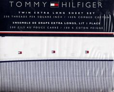 Tommy Hilfiger!!! Signature Flag Logo Extra Long Adult Twin Sheet Set (3 Piece) - Fits College Dorm Room Beds.... (... click on picture...)