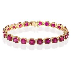 Effy Jewelry Effy Gemma 14K Yellow Gold Ruby and Diamond Bracelet,... ($12,995) ❤ liked on Polyvore featuring jewelry, bracelets, 14k bangle, gold jewelry, womens jewellery, 14k bracelet and diamond jewelry