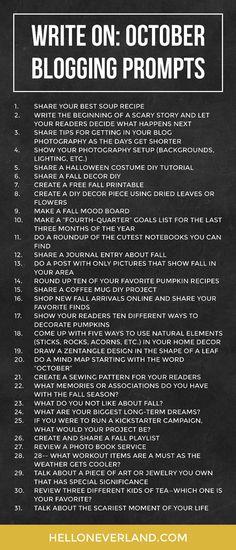 Write on: October blogging prompts