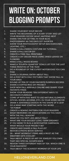 Write on: October blogging prompts