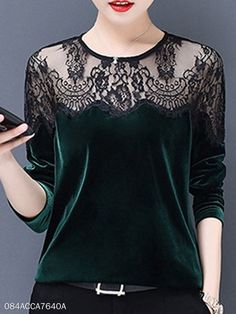 Round Neck Loose Fitting Patchwork Lace Long Sleeve T-Shirts Fitted Tshirt Dress, Tshirt Dress Outfit, Look Fashion, Hijab Fashion, Fashion Dresses, Hijab Stile, Womens Trendy Tops, Casual Skirt Outfits, Dress Outfits