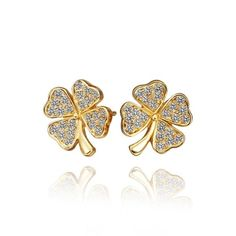 New Hot Elegant Beautiful Clover Flower CZ Diamond Sweet Stud Earring Gold-Electroplated Fine Women Girl Jewelry for Party/Wedding