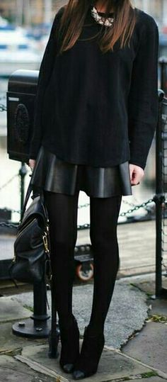 Black Sweater / Leather Flare Skirt / Black Tights / Black Boots / Black Purse