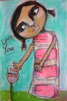 love you Portrait of a woman, Acrylic painting, Mixed Media Art, Benedicte 2015