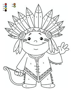 Thanksgiving Coloring Pages, Fall Coloring Pages, Thanksgiving Crafts For Kids, Daycare Crafts, Preschool Activities, Fruit Crafts, Poster Drawing, Indian Colours, Color By Numbers