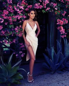 """The silky Coco dress is everything. Shop:houseofcb.com""  I NEED THIS DRESS #houseofCB #coco"